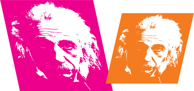 pink and orange Einstein illustration